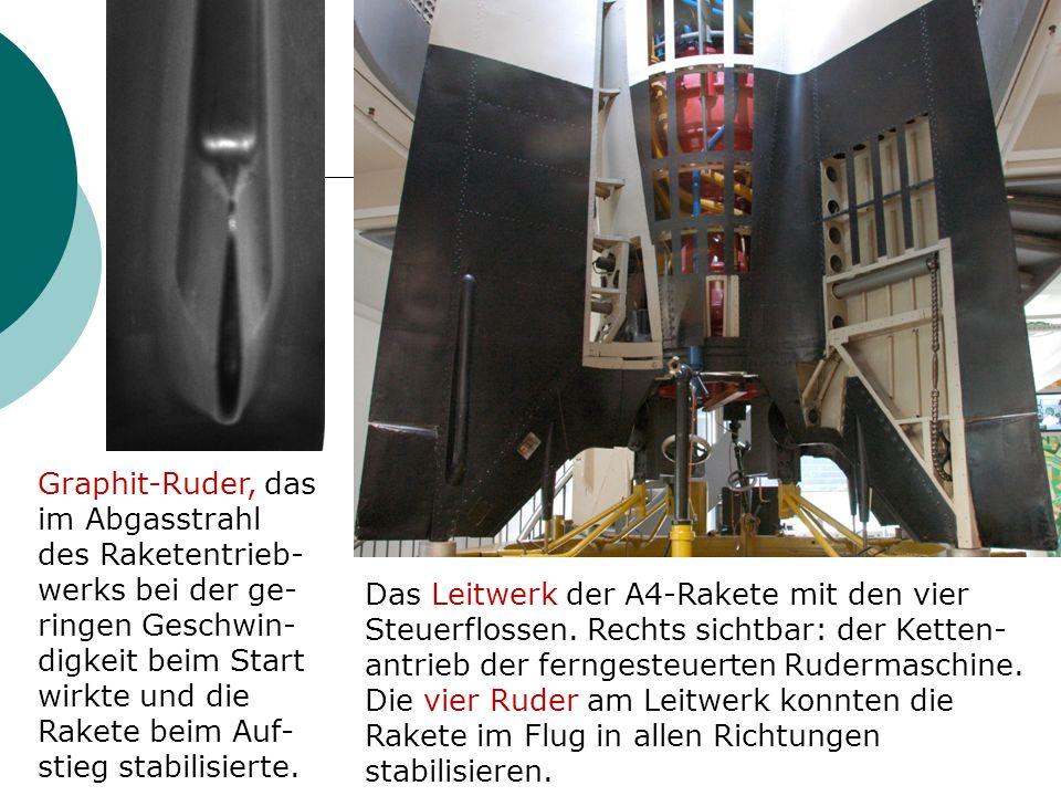 Graphit-Ruder, das im Abgasstrahl des Raketentrieb- werks bei der ge- ringen Geschwin- digkeit beim Start wirkte und die Rakete beim Auf- stieg stabilisierte.