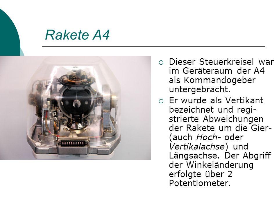 Rakete A4 Dieser Steuerkreisel war im Geräteraum der A4 als Kommandogeber untergebracht. Er wurde als Vertikant bezeichnet und regi- strierte Abweichu