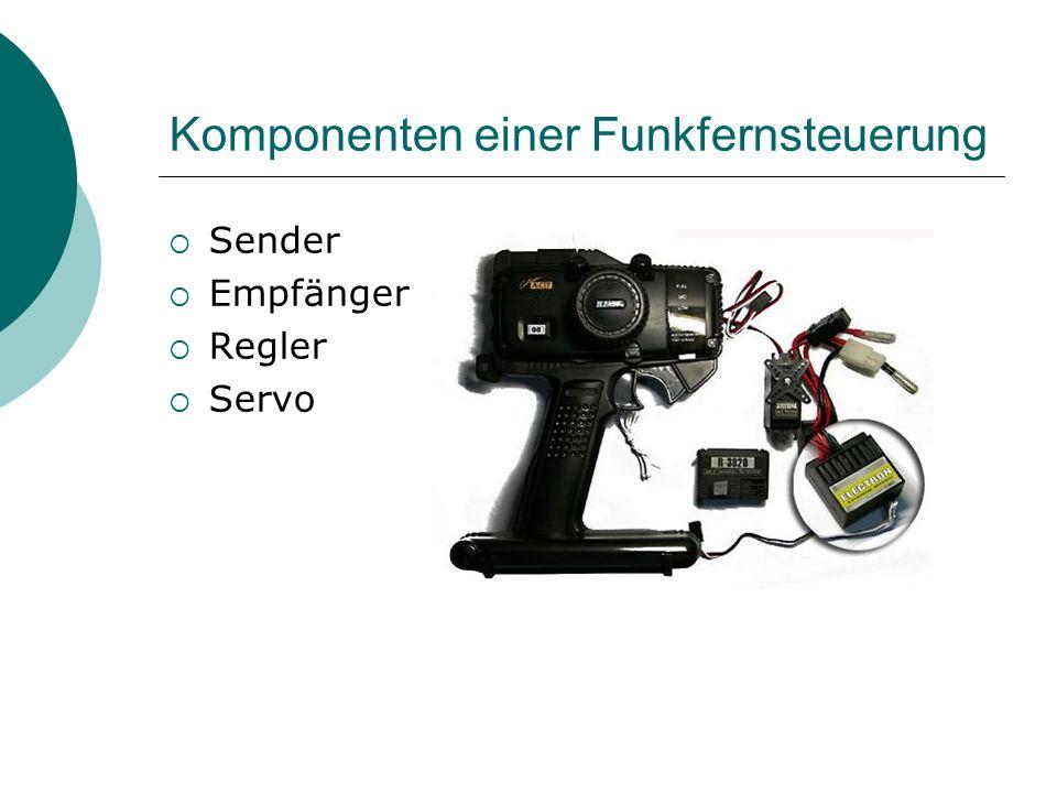Komponenten einer Funkfernsteuerung Sender Empfänger Regler Servo