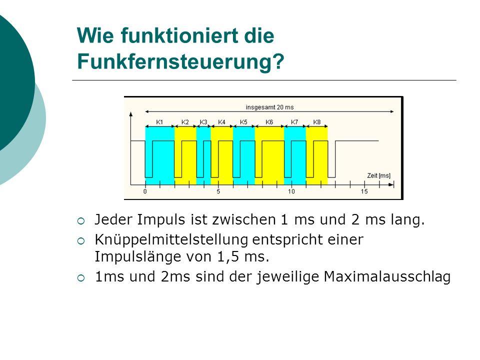 Wie funktioniert die Funkfernsteuerung? Jeder Impuls ist zwischen 1 ms und 2 ms lang. Knüppelmittelstellung entspricht einer Impulslänge von 1,5 ms. 1