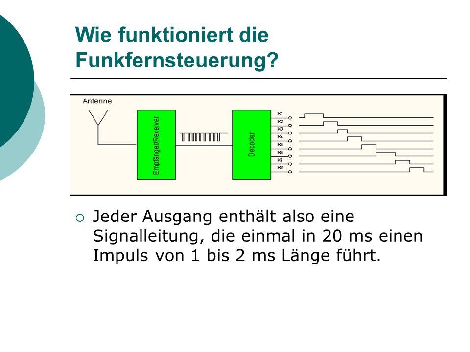 Wie funktioniert die Funkfernsteuerung? Jeder Ausgang enthält also eine Signalleitung, die einmal in 20 ms einen Impuls von 1 bis 2 ms Länge führt.