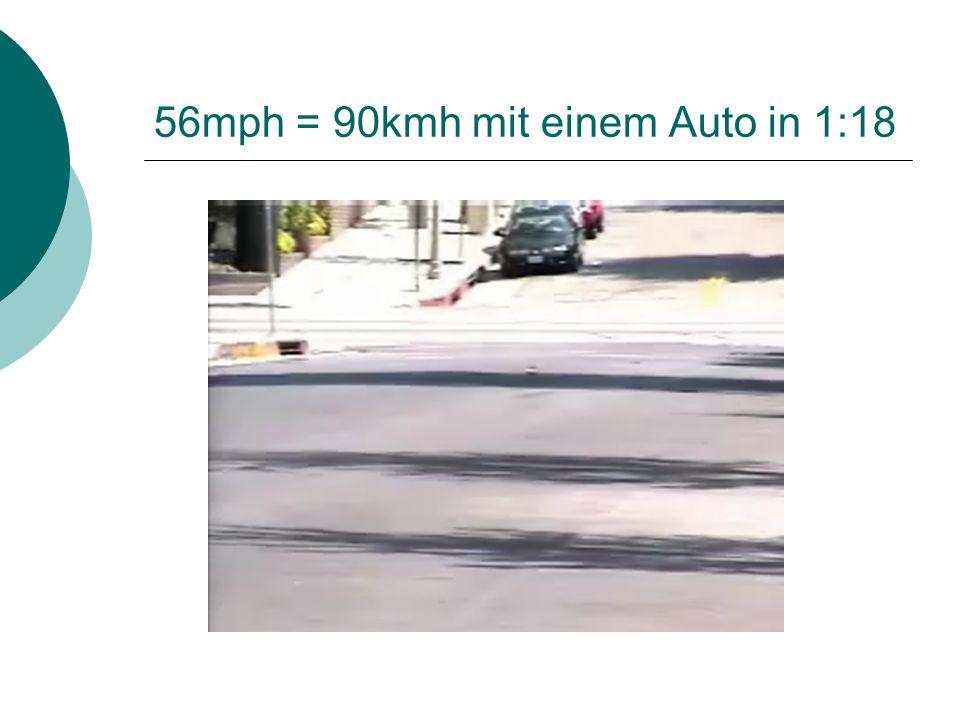 56mph = 90kmh mit einem Auto in 1:18