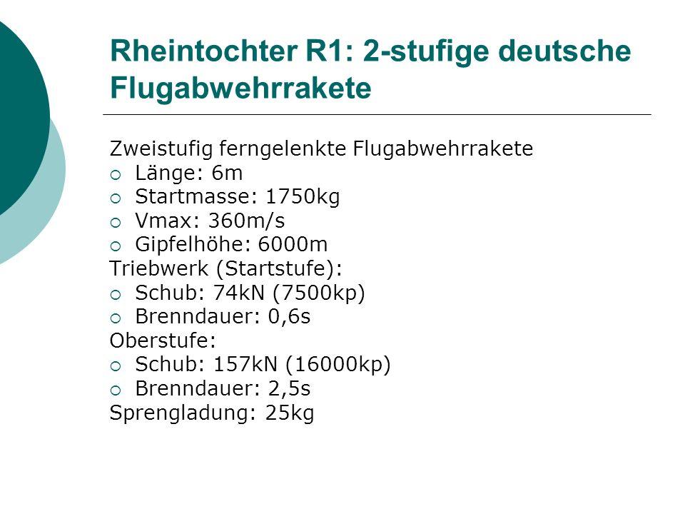 Zweistufig ferngelenkte Flugabwehrrakete Länge: 6m Startmasse: 1750kg Vmax: 360m/s Gipfelhöhe: 6000m Triebwerk (Startstufe): Schub: 74kN (7500kp) Bren
