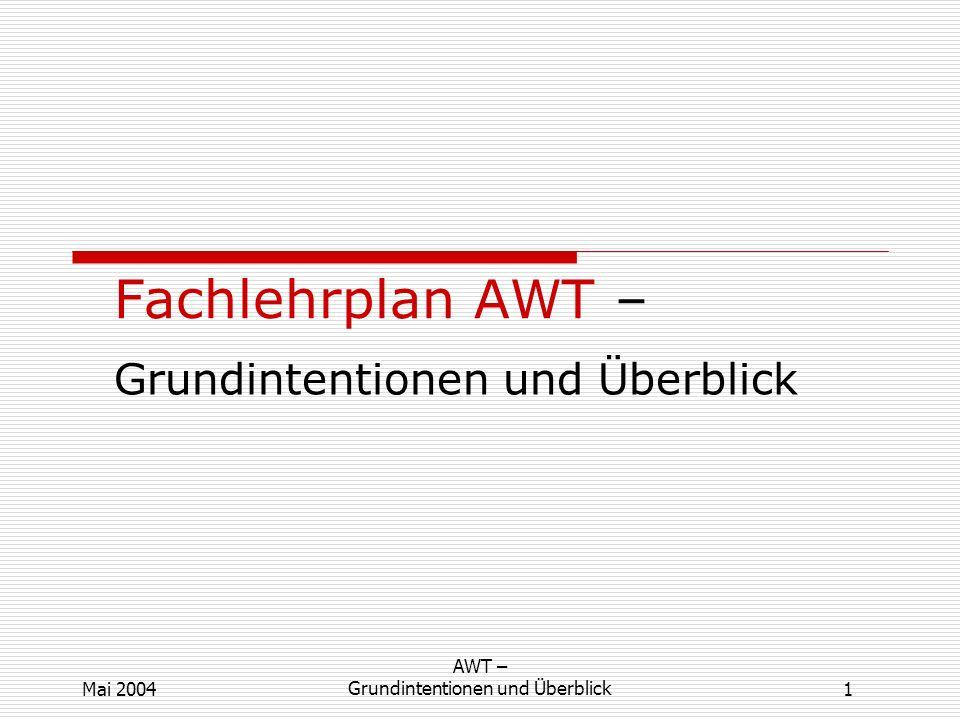 1 AWT – Grundintentionen und ÜberblickMai 2004 Fachlehrplan AWT – Grundintentionen und Überblick