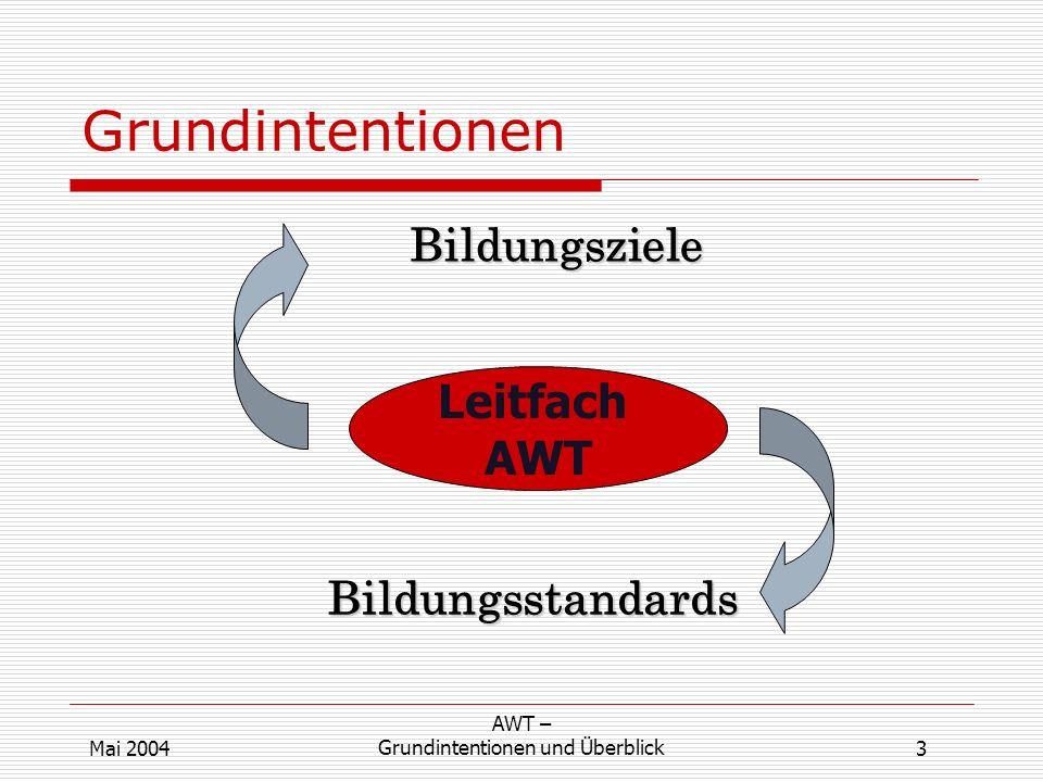 Leitfach AWT Bildungsziele Bildungsstandards 3 AWT – Grundintentionen und ÜberblickMai 2004 Grundintentionen