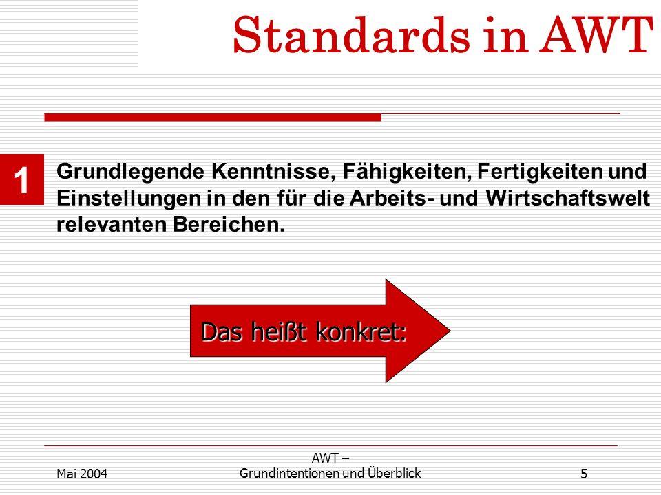 Standards in AWT 1 Grundlegende Kenntnisse, Fähigkeiten, Fertigkeiten und Einstellungen in den für die Arbeits- und Wirtschaftswelt relevanten Bereichen.