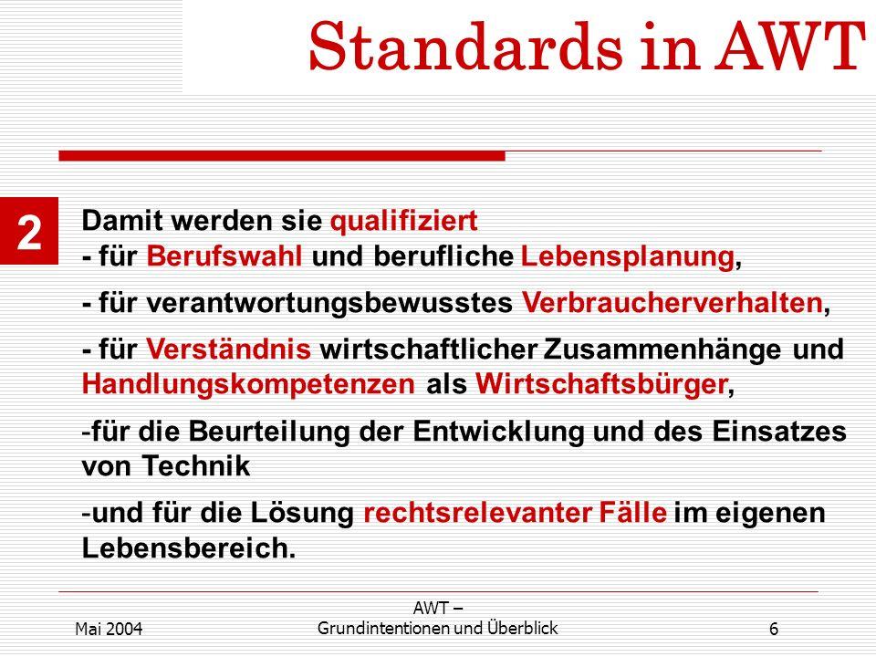 Standards in AWT 2 6 AWT – Grundintentionen und ÜberblickMai 2004 Damit werden sie qualifiziert - für Berufswahl und berufliche Lebensplanung, - für v
