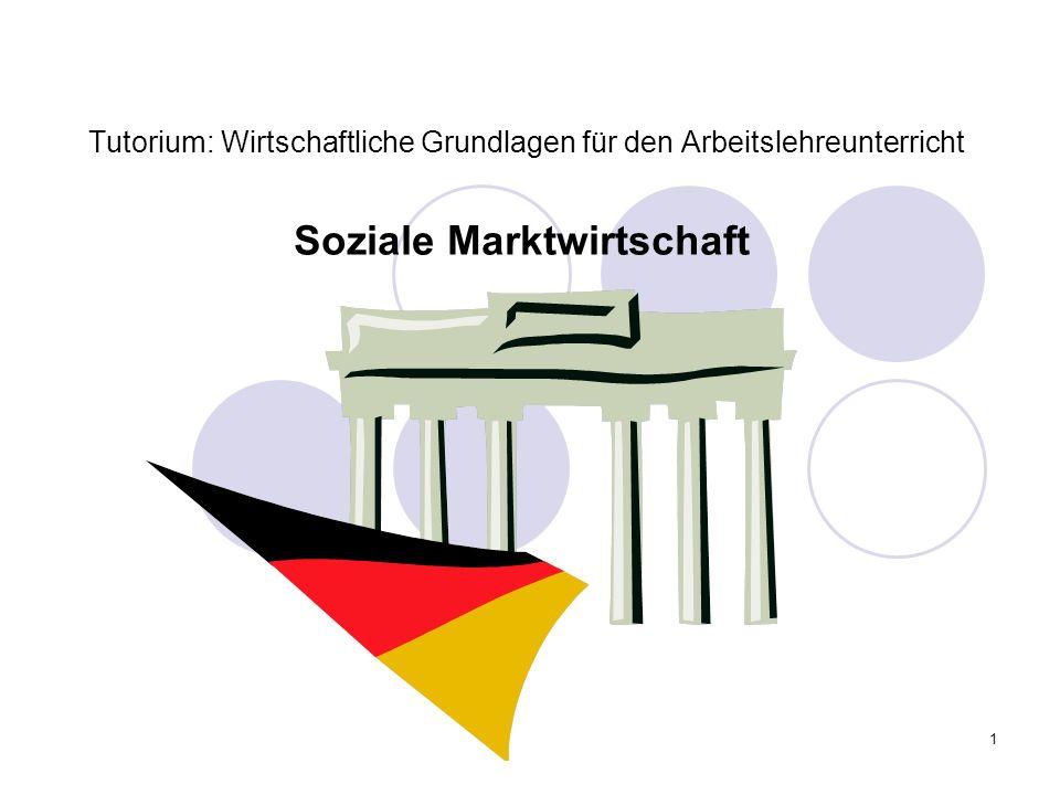 1 Tutorium: Wirtschaftliche Grundlagen für den Arbeitslehreunterricht Soziale Marktwirtschaft