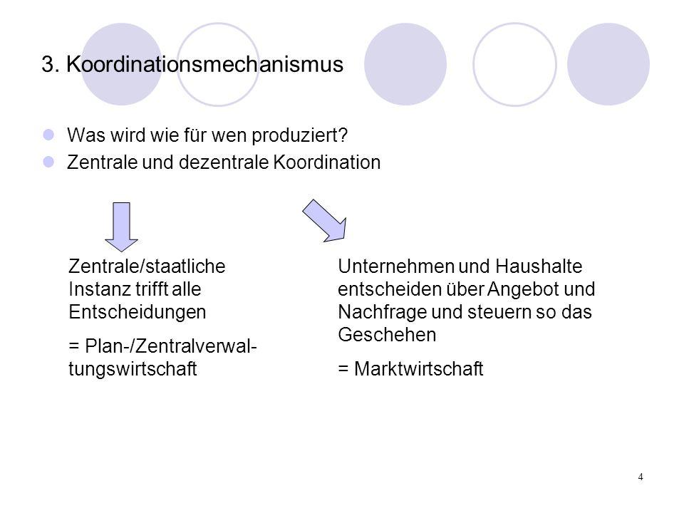 4 3. Koordinationsmechanismus Was wird wie für wen produziert? Zentrale und dezentrale Koordination Zentrale/staatliche Instanz trifft alle Entscheidu