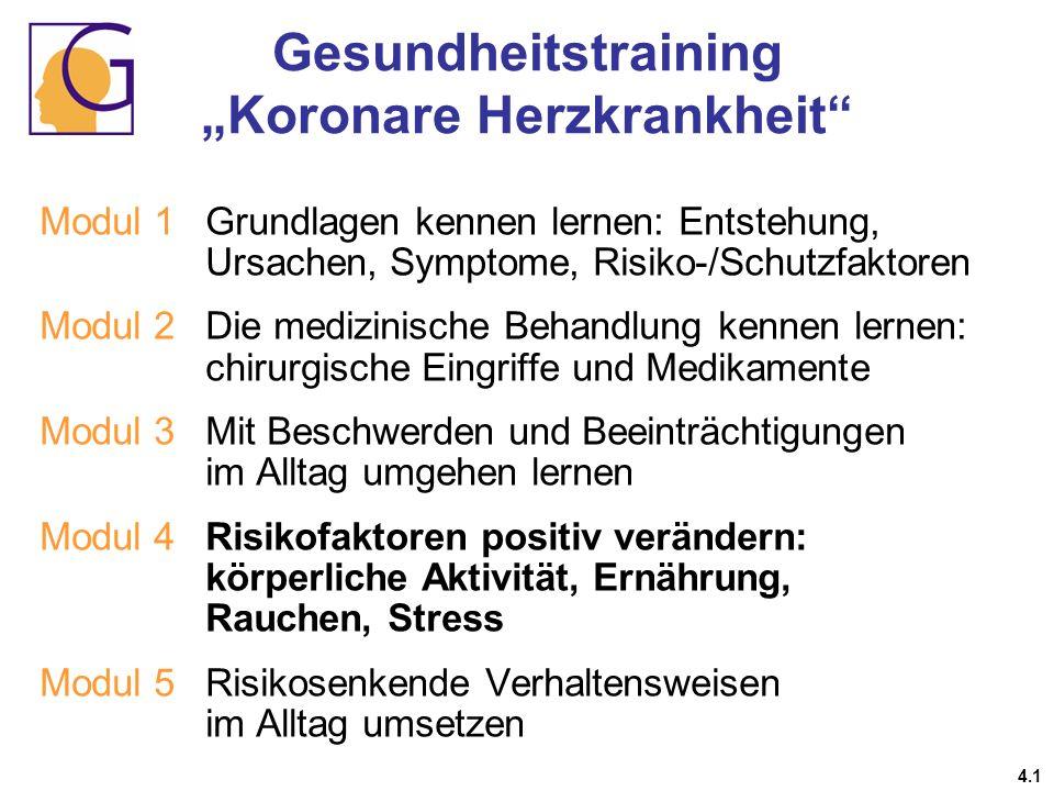 Gesundheitstraining Koronare Herzkrankheit 4.1 Modul 1 Grundlagen kennen lernen: Entstehung, Ursachen, Symptome, Risiko-/Schutzfaktoren Modul 2Die med