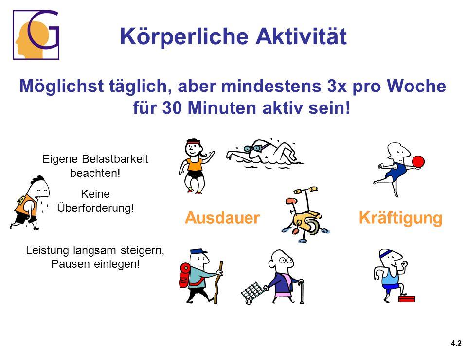 Körperliche Aktivität Möglichst täglich, aber mindestens 3x pro Woche für 30 Minuten aktiv sein! Eigene Belastbarkeit beachten! Keine Überforderung! L