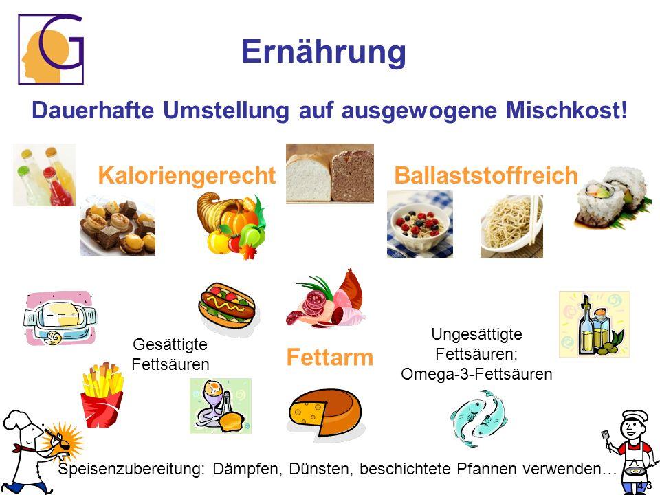 Ernährung Dauerhafte Umstellung auf ausgewogene Mischkost! KaloriengerechtBallaststoffreich Fettarm Gesättigte Fettsäuren Ungesättigte Fettsäuren; Ome