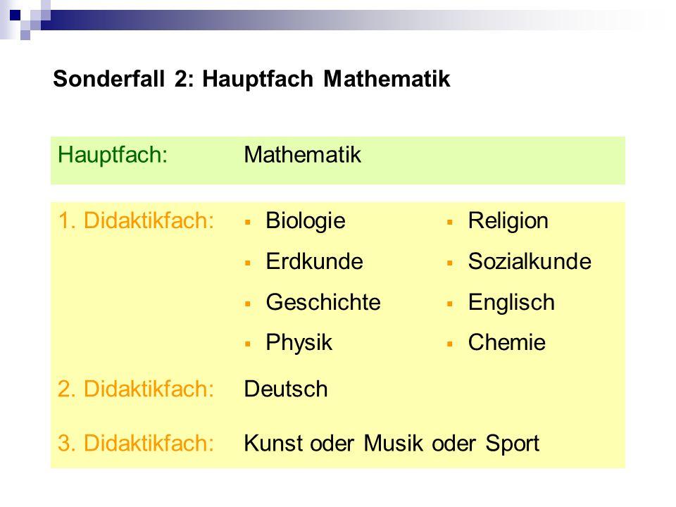 Sonderfall 2: Hauptfach Mathematik Religion Sozialkunde Englisch Chemie Kunst oder Musik oder Sport3.