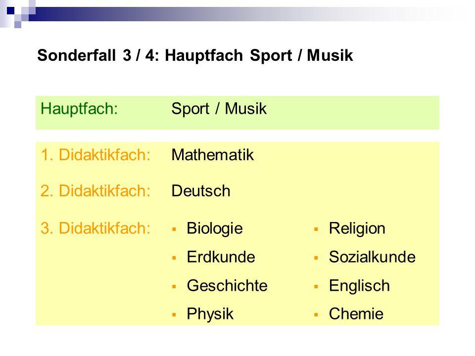 Sonderfall 3 / 4: Hauptfach Sport / Musik Religion Sozialkunde Englisch Chemie Biologie Erdkunde Geschichte Physik 3.