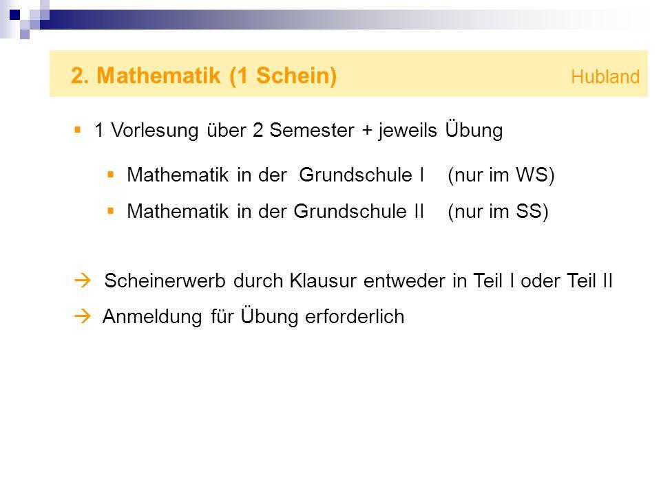 2. Mathematik (1 Schein) Hubland 1 Vorlesung über 2 Semester + jeweils Übung Mathematik in der Grundschule I (nur im WS) Mathematik in der Grundschule