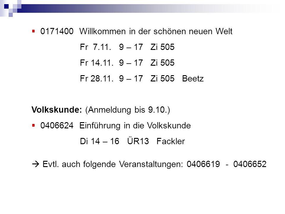 0171400 Willkommen in der schönen neuen Welt Fr 7.11.