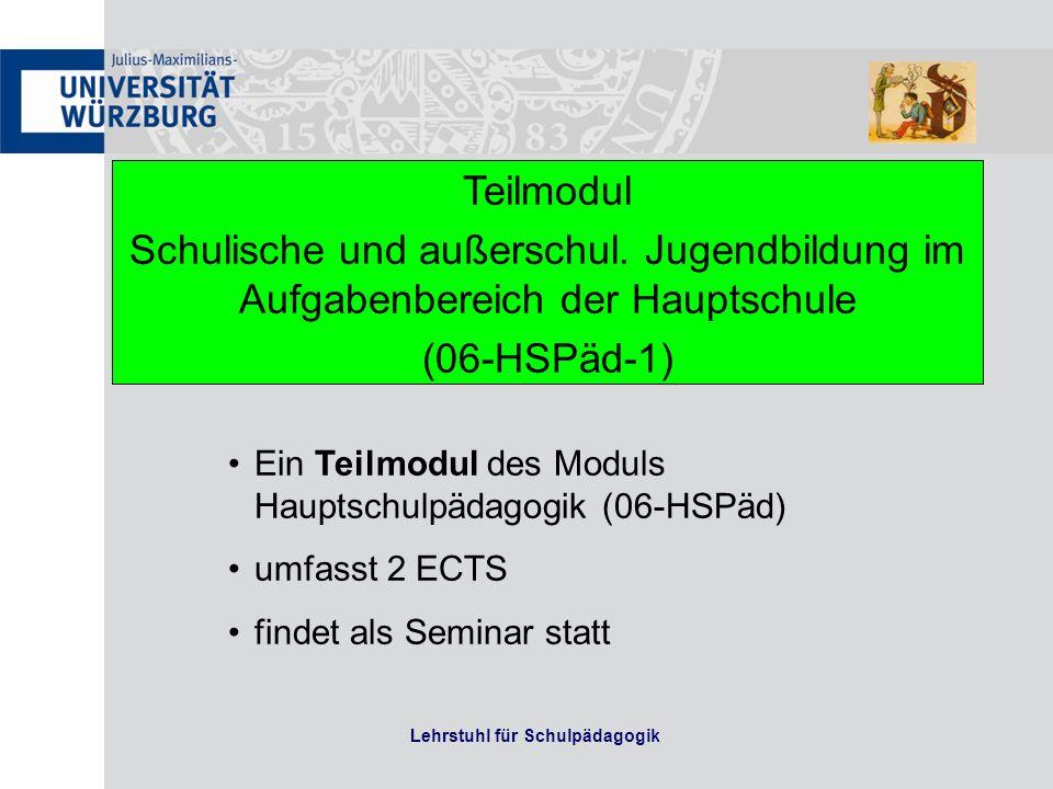 Lehrstuhl für Schulpädagogik Teilmodul Schulische und außerschul. Jugendbildung im Aufgabenbereich der Hauptschule (06-HSPäd-1) Ein Teilmodul des Modu