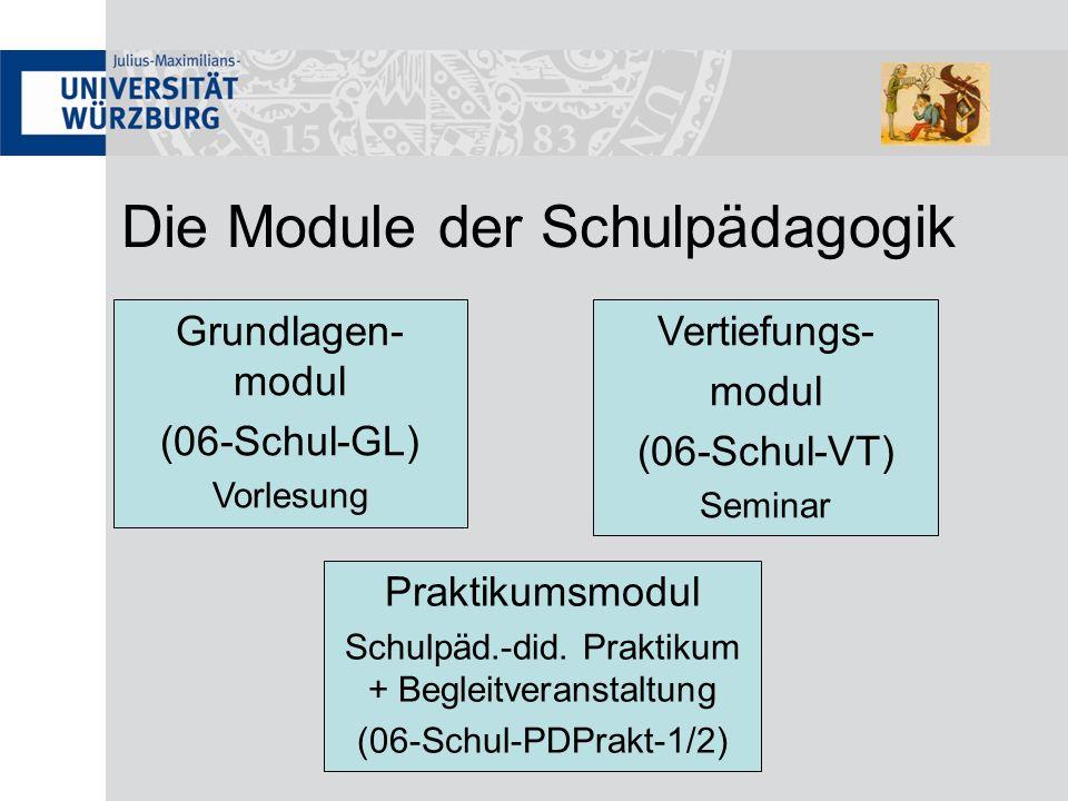 Die Module der Schulpädagogik Grundlagen- modul (06-Schul-GL) Vorlesung Praktikumsmodul Schulpäd.-did. Praktikum + Begleitveranstaltung (06-Schul-PDPr