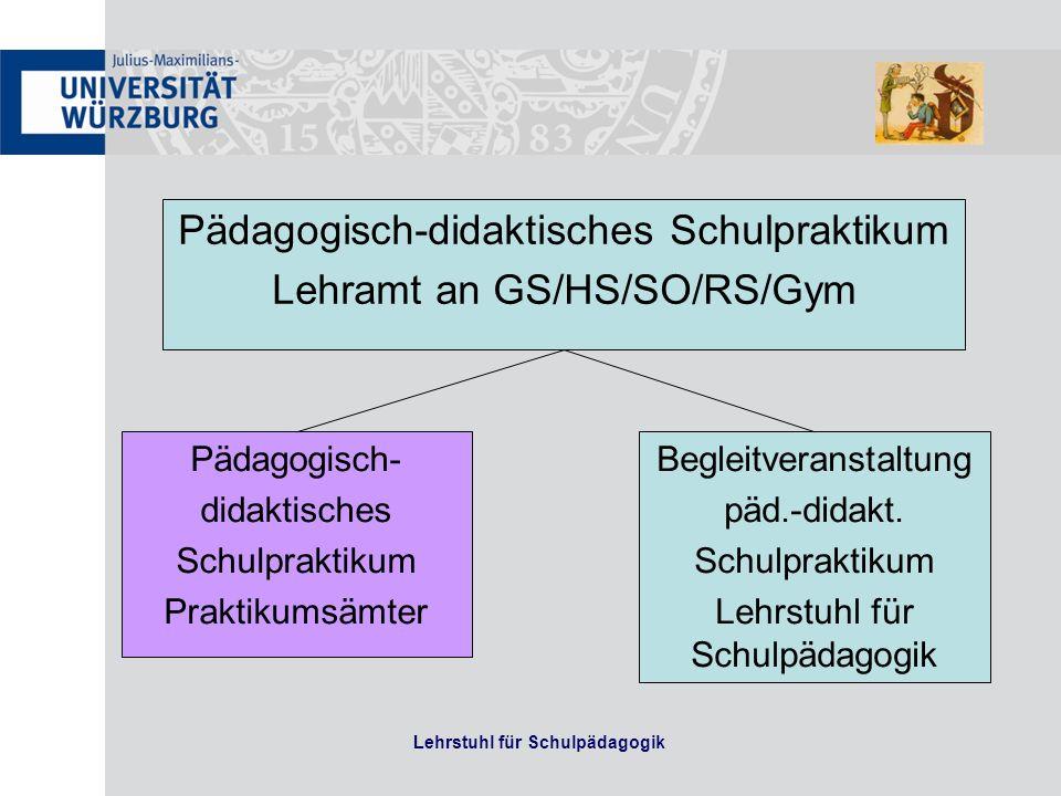 Die Begleitveranstaltung umfasst 2 ECTS Sie findet teilweise (vom Lehramt abhängig) als Vorlesung statt Prüfung bestanden/nicht bestanden Details von den LeiterInnen der Praktikumsämter (Frau Gutwerk GS/HS/SO, Frau Neumeier RS, Herr Hunger GYM)