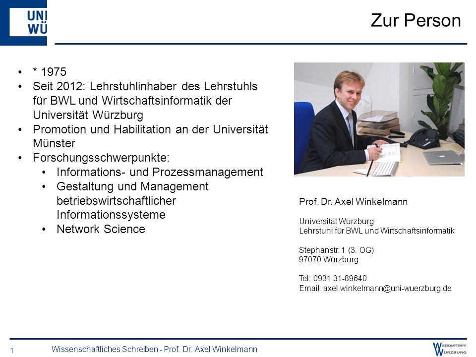 Lehrstuhl für BWL und Wirtschaftsinformatik Stephanstr. 1 97070 Würzburg http://www.bwl.uni-wuerzburg.de/lehrstuehle/wiinf2/ Informationsveranstaltung