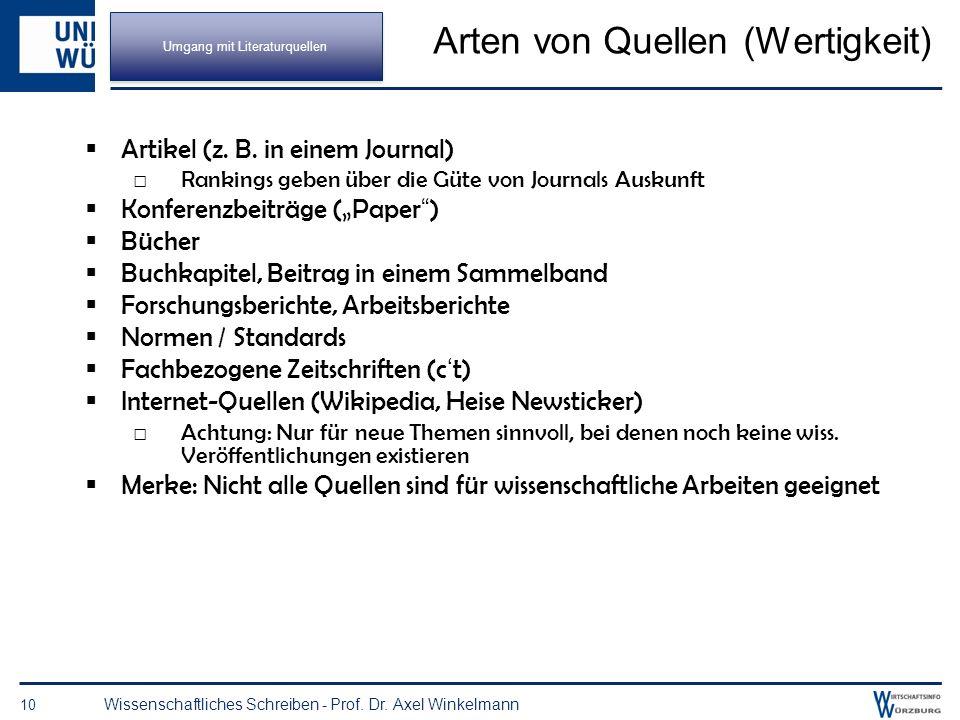 Quellen für Literatur 9 Wissenschaftliches Schreiben - Prof. Dr. Axel Winkelmann Stichwortsuche Schneeballsystem in gefundenen Quellen das Literaturve