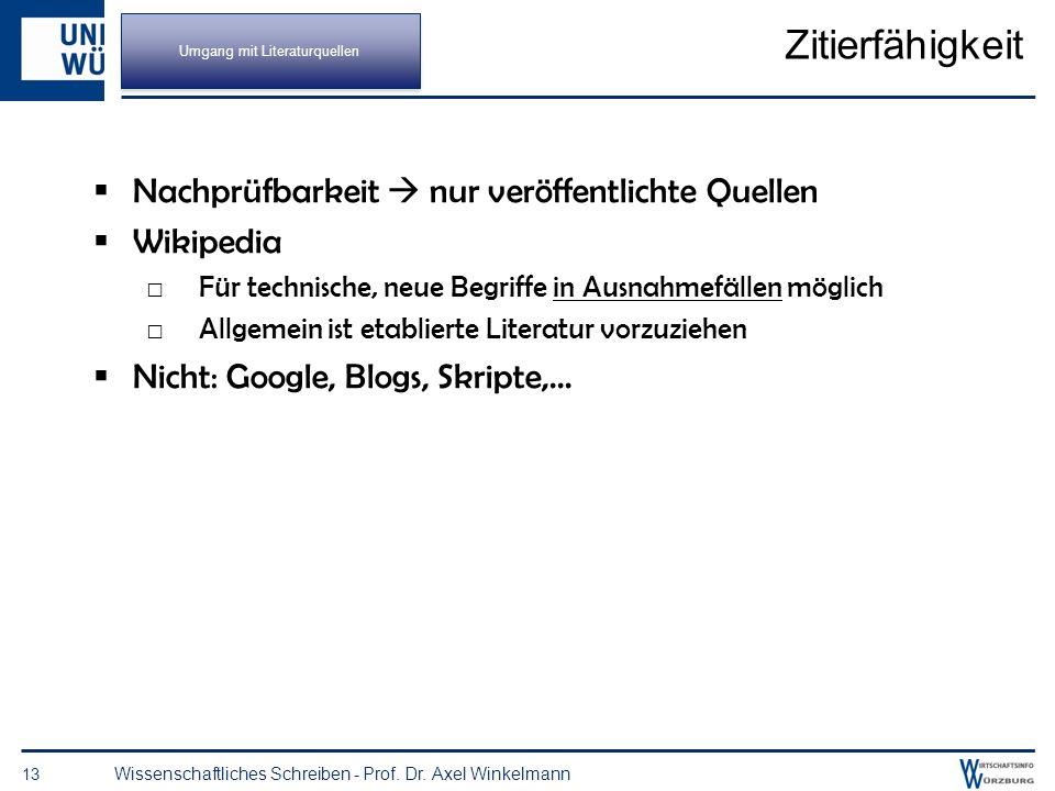 Recherche an der UB Würzburg 12 Wissenschaftliches Schreiben - Prof. Dr. Axel Winkelmann Umgang mit Literaturquellen