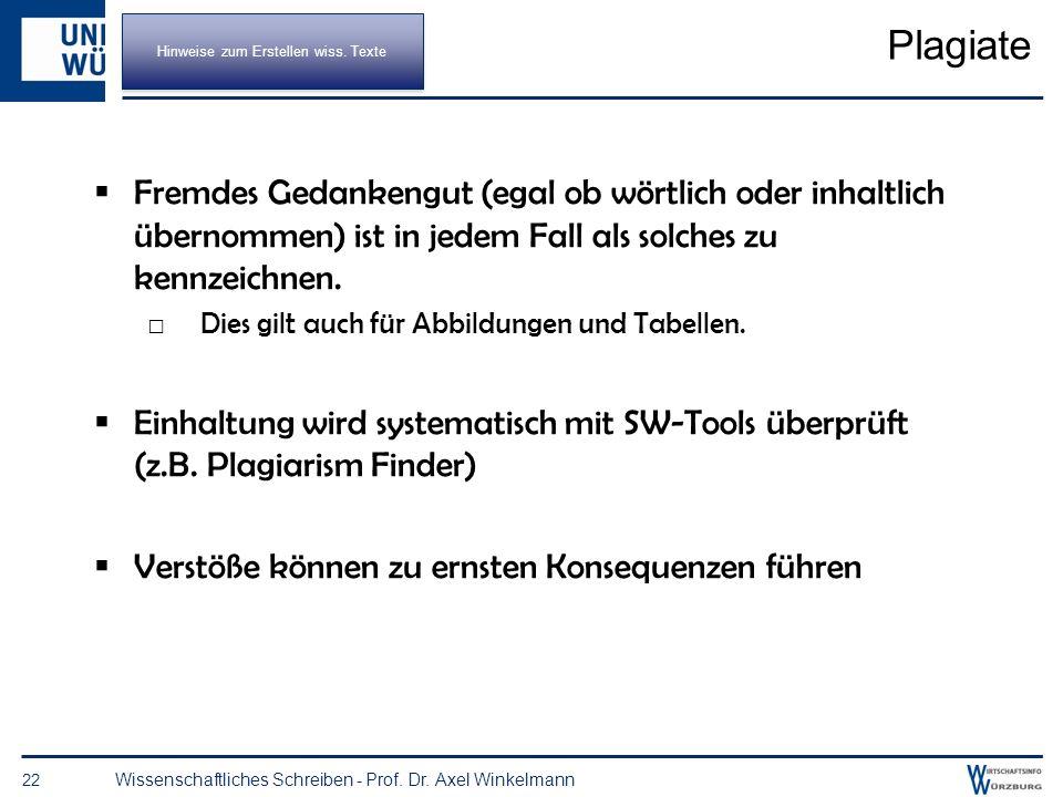 Eigene Meinung ausdrücken 21 Wissenschaftliches Schreiben - Prof. Dr. Axel Winkelmann Das Wort ich gibt es in (deutschen) wissenschaftlichen Arbeiten
