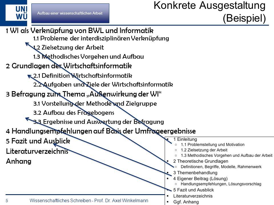 Grundaufbau des Textteils (Beispiel) 4 Wissenschaftliches Schreiben - Prof. Dr. Axel Winkelmann 1 Einleitung 1.1 Problemstellung und Motivation 1.2 Zi