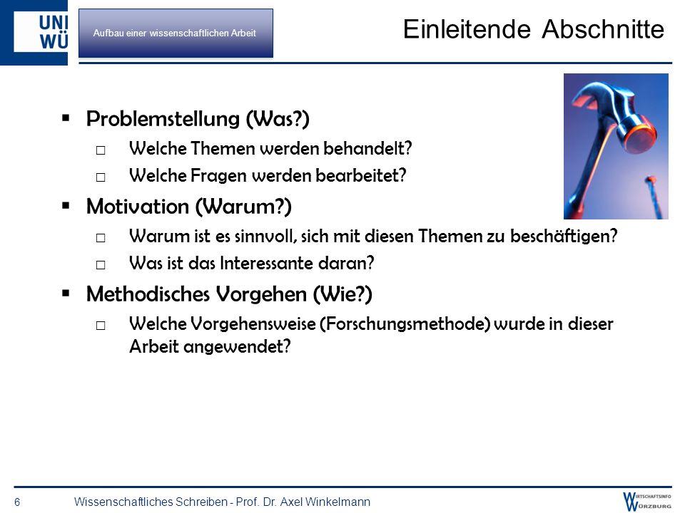 Konkrete Ausgestaltung (Beispiel) 5 Wissenschaftliches Schreiben - Prof. Dr. Axel Winkelmann 1 WI als Verknüpfung von BWL und Informatik 1.1 Probleme