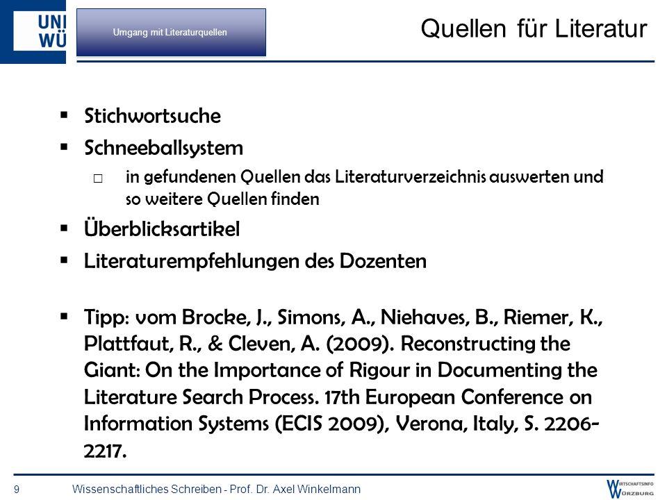 8 Wissenschaftliches Schreiben - Prof. Dr. Axel Winkelmann Umgang mit Literaturquellen