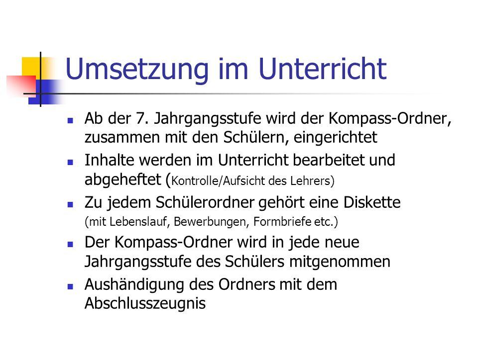 Umsetzung im Unterricht Ab der 7.