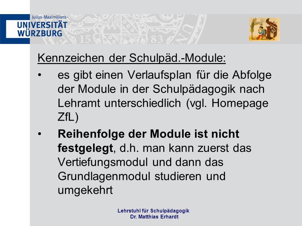 Lehrstuhl für Schulpädagogik Dr.