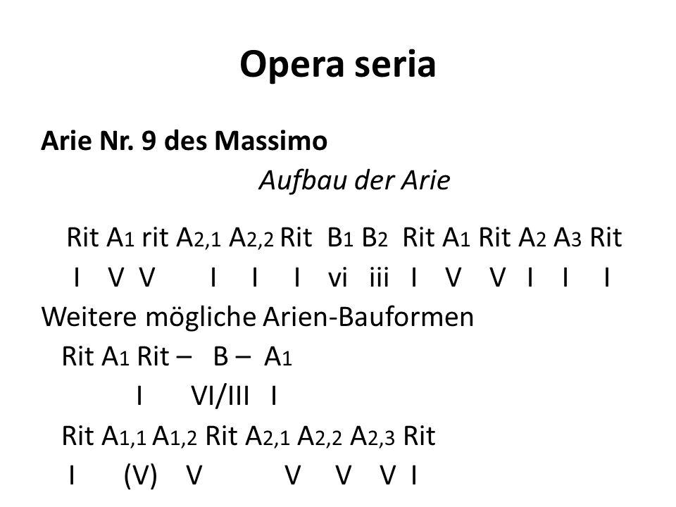 Opera seria Arie Nr. 9 des Massimo Aufbau der Arie Rit A 1 rit A 2,1 A 2,2 Rit B 1 B 2 Rit A 1 Rit A 2 A 3 Rit I V V I I I vi iii I V V I I I Weitere