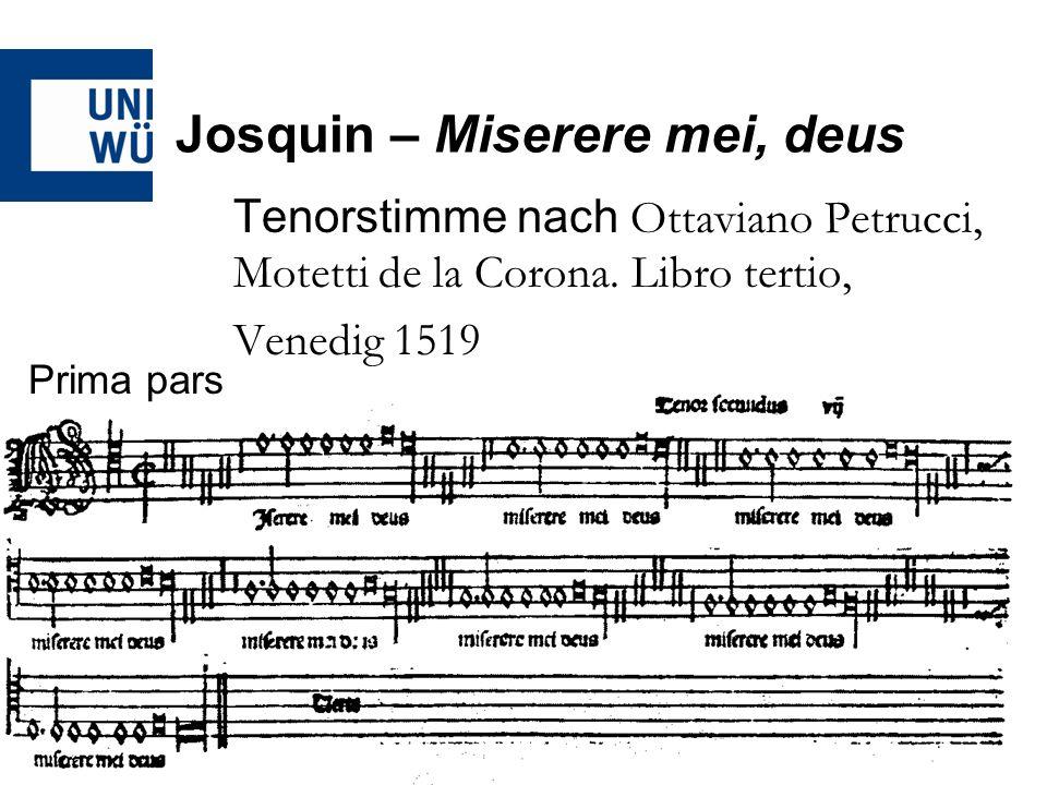Josquin – Miserere mei, deus -Die Repetitionstechniken schaffen einerseits eine formale Einheit des umfangreichen Werke -Die Repetition der Miserere-Blöcke hat zudem eine stark rhetorische Wirkung auf die Zuhörer -Dies auch durch den Wechsel von melismatischen Abschnitten zu den deklamatorisch gebauten Blöcken