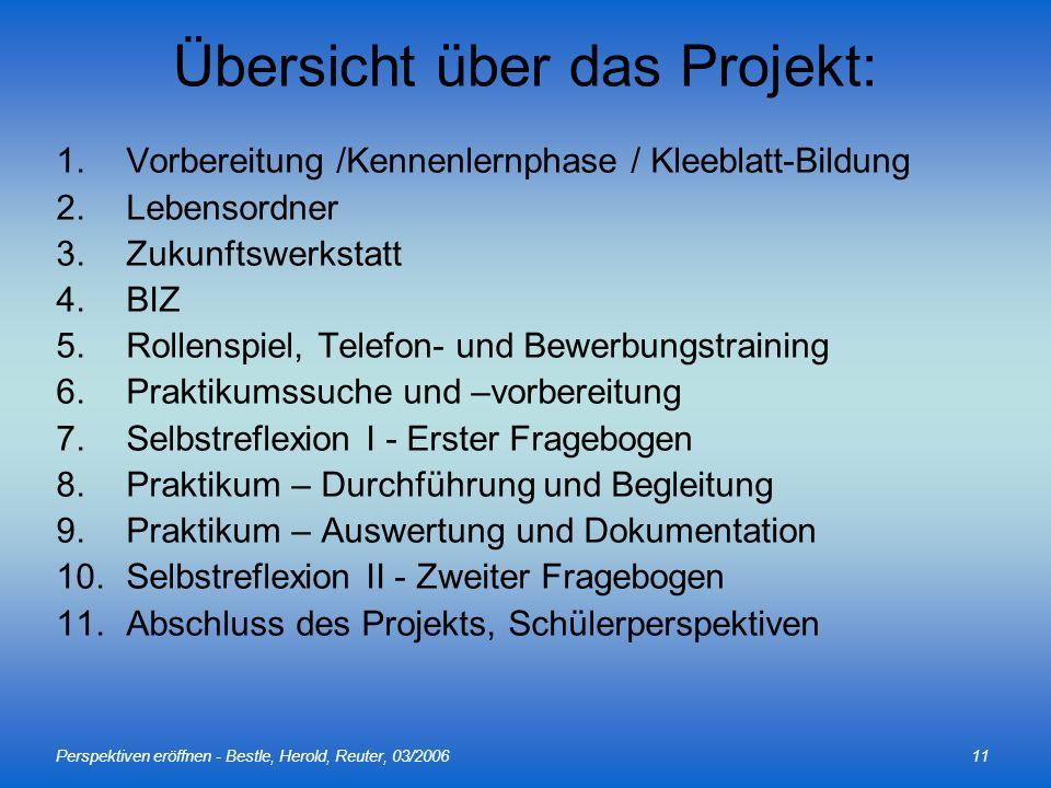 Perspektiven eröffnen - Bestle, Herold, Reuter, 03/200611 Übersicht über das Projekt: 1.Vorbereitung /Kennenlernphase / Kleeblatt-Bildung 2.Lebensordn