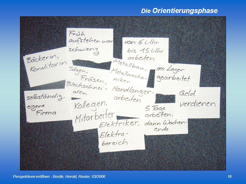 Perspektiven eröffnen - Bestle, Herold, Reuter, 03/200616 Die Orientierungsphase