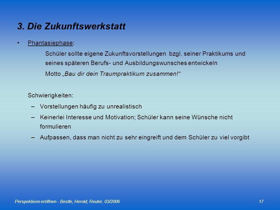 Perspektiven eröffnen - Bestle, Herold, Reuter, 03/200617 Phantasiephase: Schüler sollte eigene Zukunftsvorstellungen bzgl. seiner Praktikums und sein