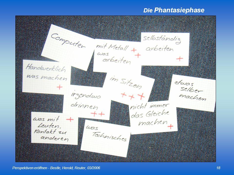 Perspektiven eröffnen - Bestle, Herold, Reuter, 03/200618 Die Phantasiephase