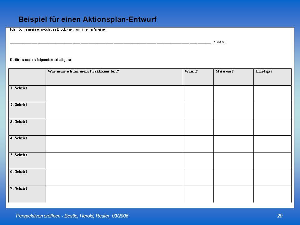 Perspektiven eröffnen - Bestle, Herold, Reuter, 03/200620 Beispiel für einen Aktionsplan-Entwurf