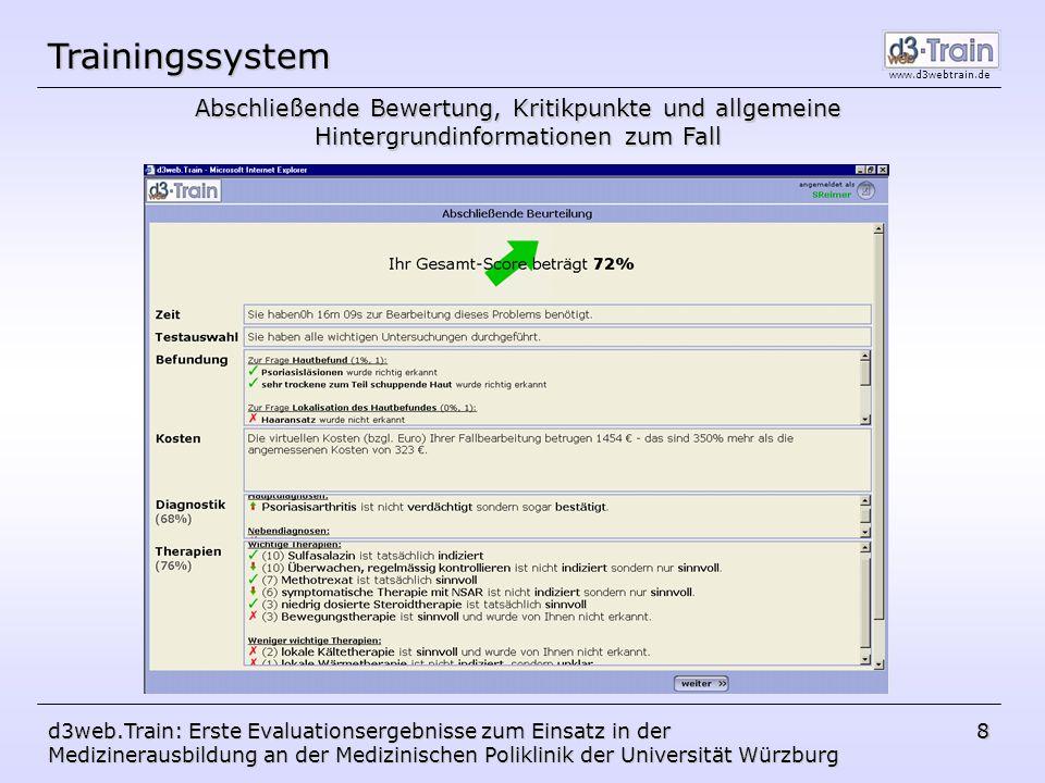 www.d3webtrain.de d3web.Train: Erste Evaluationsergebnisse zum Einsatz in der Medizinerausbildung an der Medizinischen Poliklinik der Universität Würzburg 19 Fragen?
