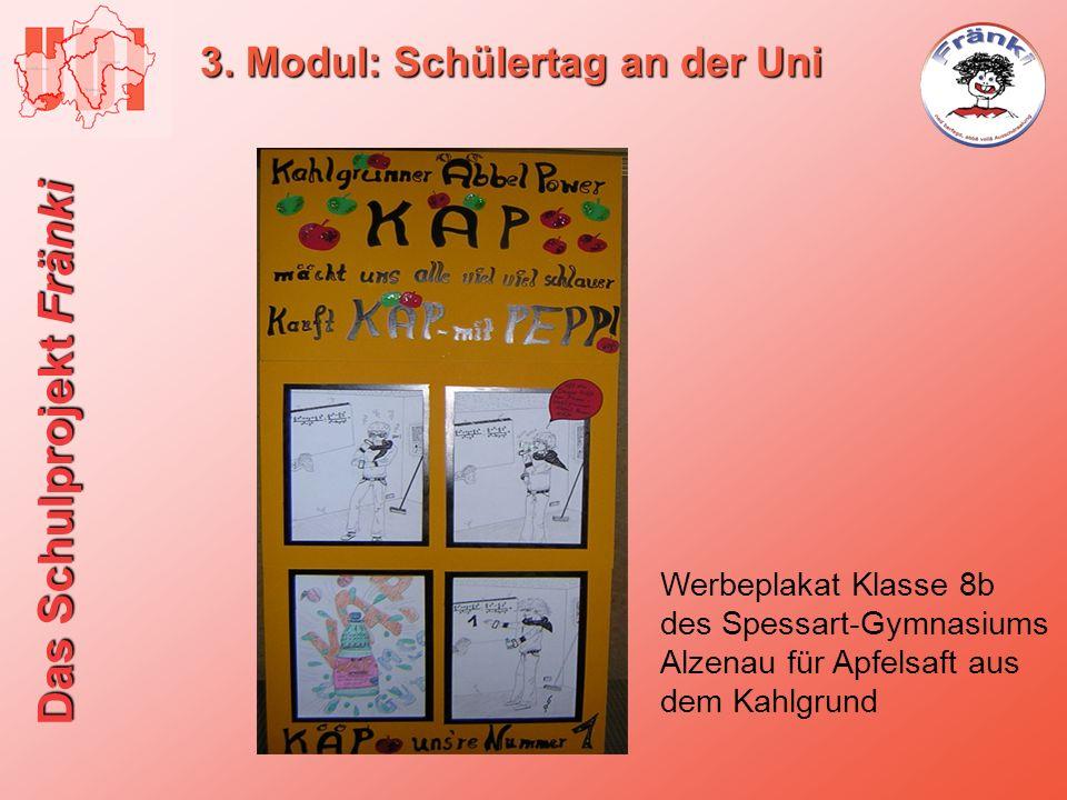 Das Schulprojekt Fränki 3. Modul: Schülertag an der Uni Werbeplakat Klasse 8b des Spessart-Gymnasiums Alzenau für Apfelsaft aus dem Kahlgrund