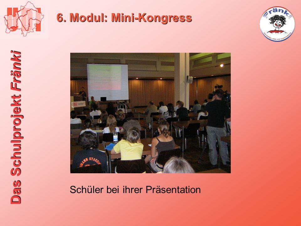 Das Schulprojekt Fränki 6. Modul: Mini-Kongress Schüler bei ihrer Präsentation