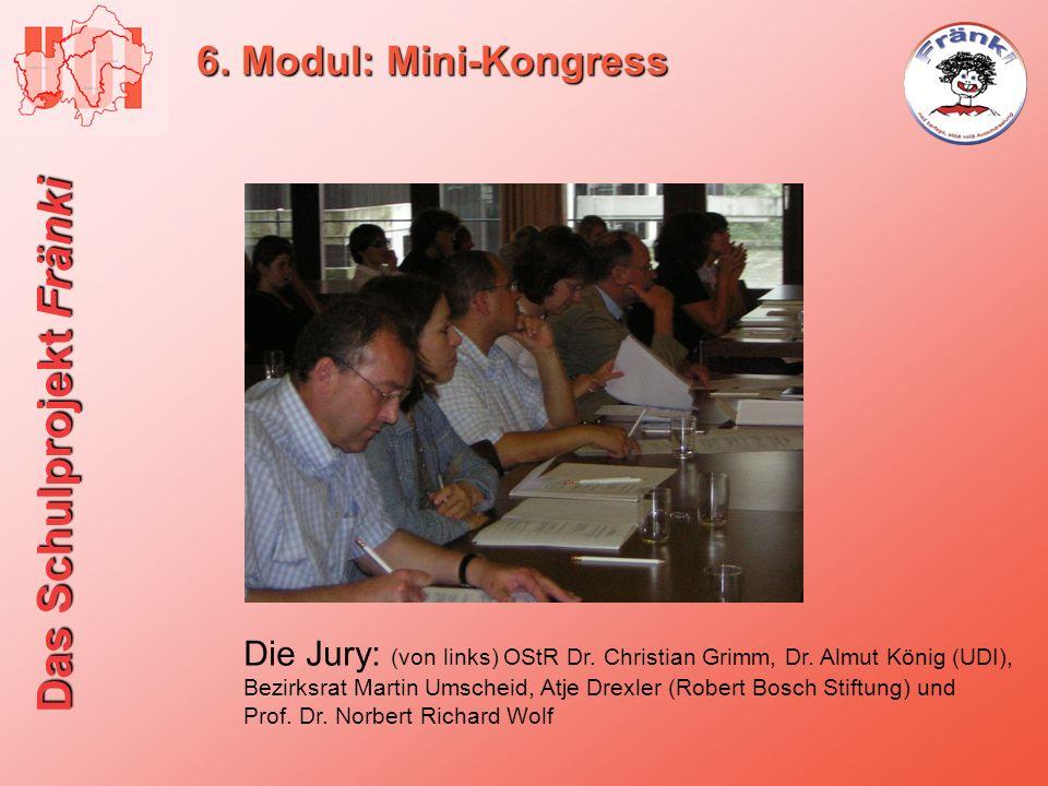 Das Schulprojekt Fränki 6. Modul: Mini-Kongress Die Jury: (von links) OStR Dr. Christian Grimm, Dr. Almut König (UDI), Bezirksrat Martin Umscheid, Atj