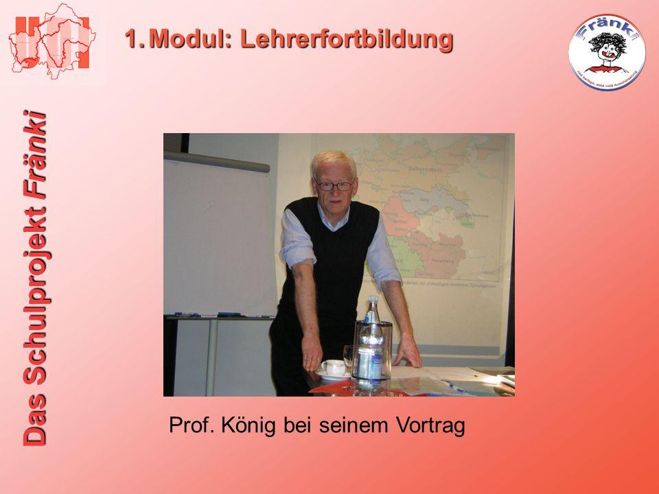 Das Schulprojekt Fränki 1.Modul: Lehrerfortbildung Prof. König bei seinem Vortrag