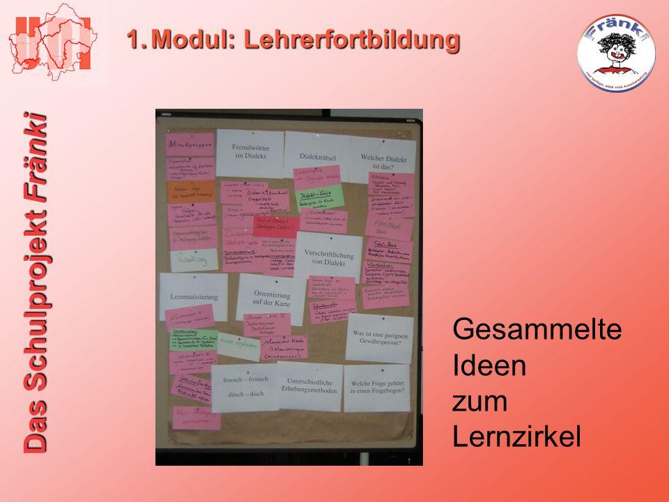 Das Schulprojekt Fränki 1.Modul: Lehrerfortbildung Gesammelte Ideen zum Lernzirkel