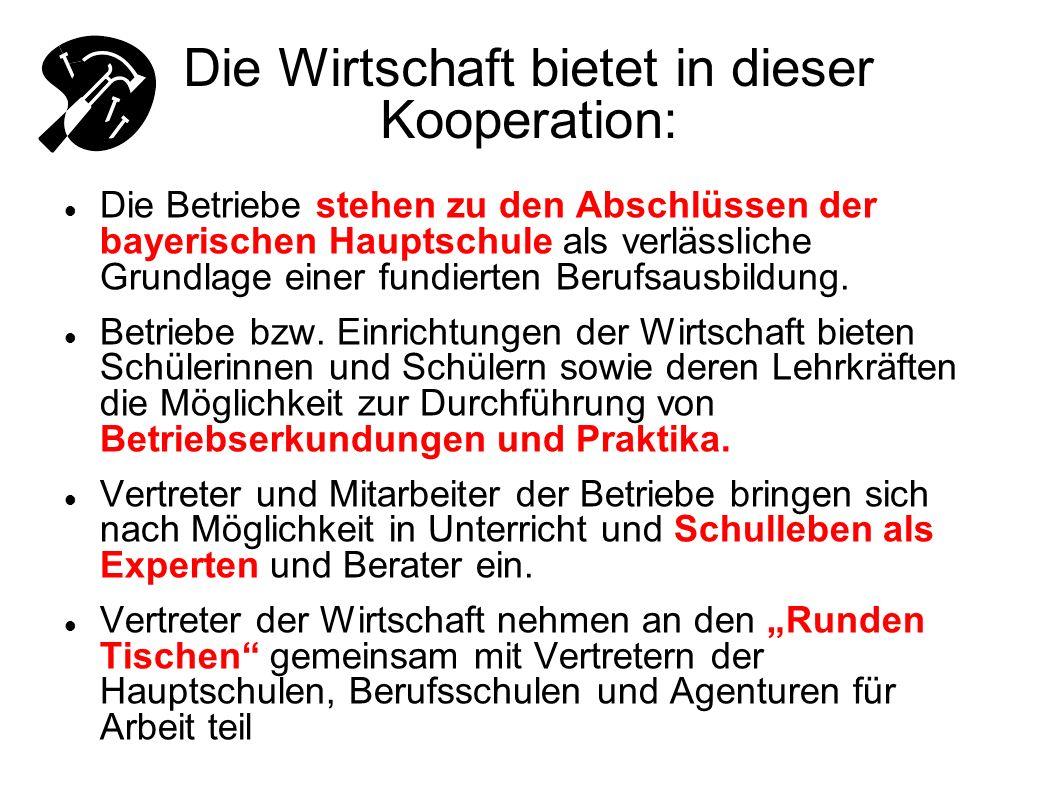 Die Wirtschaft bietet in dieser Kooperation: Die Betriebe stehen zu den Abschlüssen der bayerischen Hauptschule als verlässliche Grundlage einer fundi