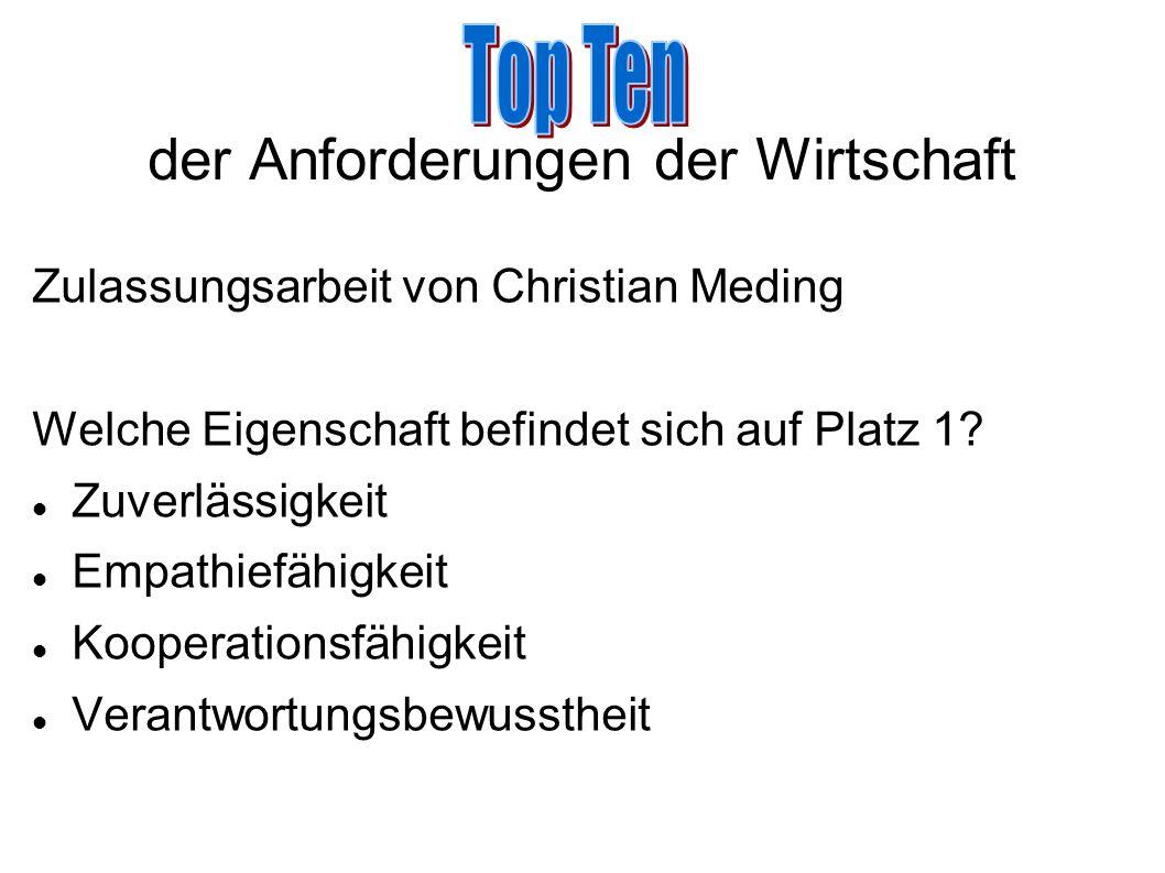 der Anforderungen der Wirtschaft Zulassungsarbeit von Christian Meding Welche Eigenschaft befindet sich auf Platz 1? Zuverlässigkeit Empathiefähigkeit
