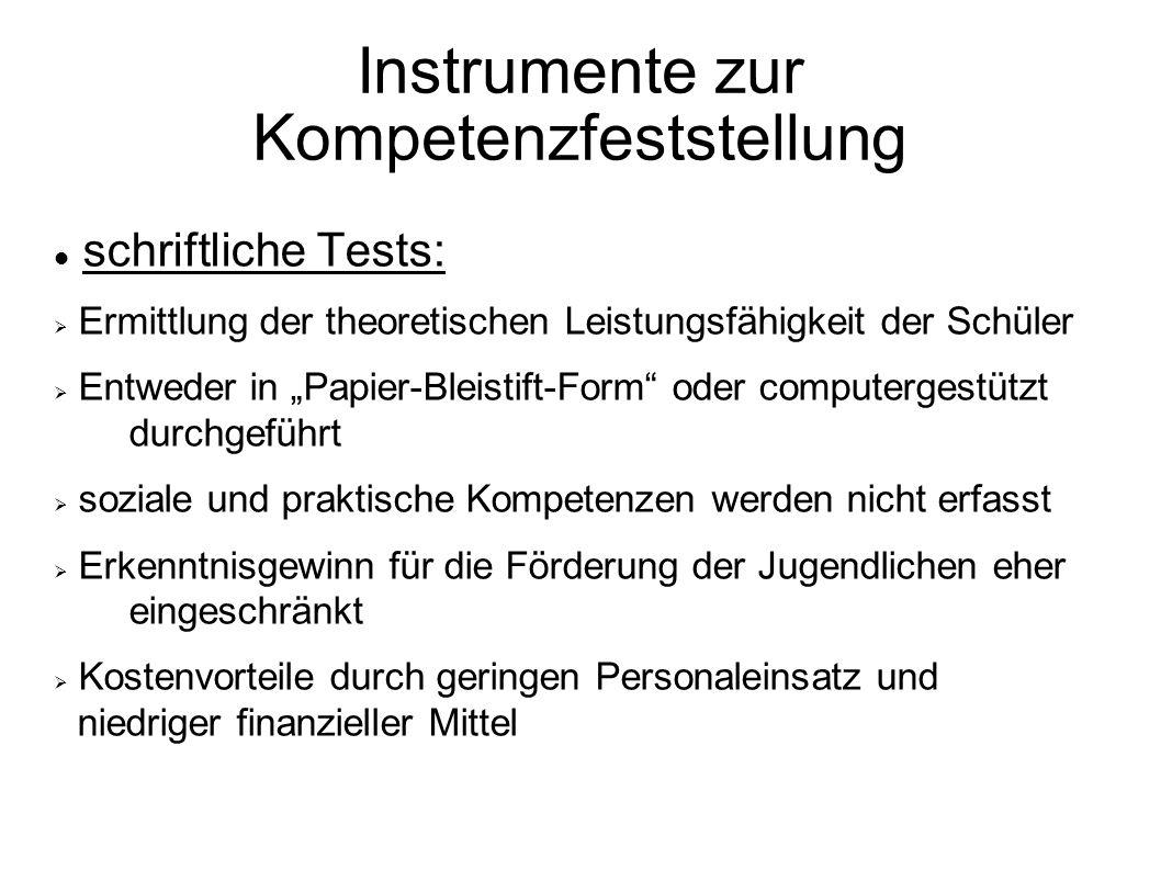 Instrumente zur Kompetenzfeststellung schriftliche Tests: Ermittlung der theoretischen Leistungsfähigkeit der Schüler Entweder in Papier-Bleistift-For
