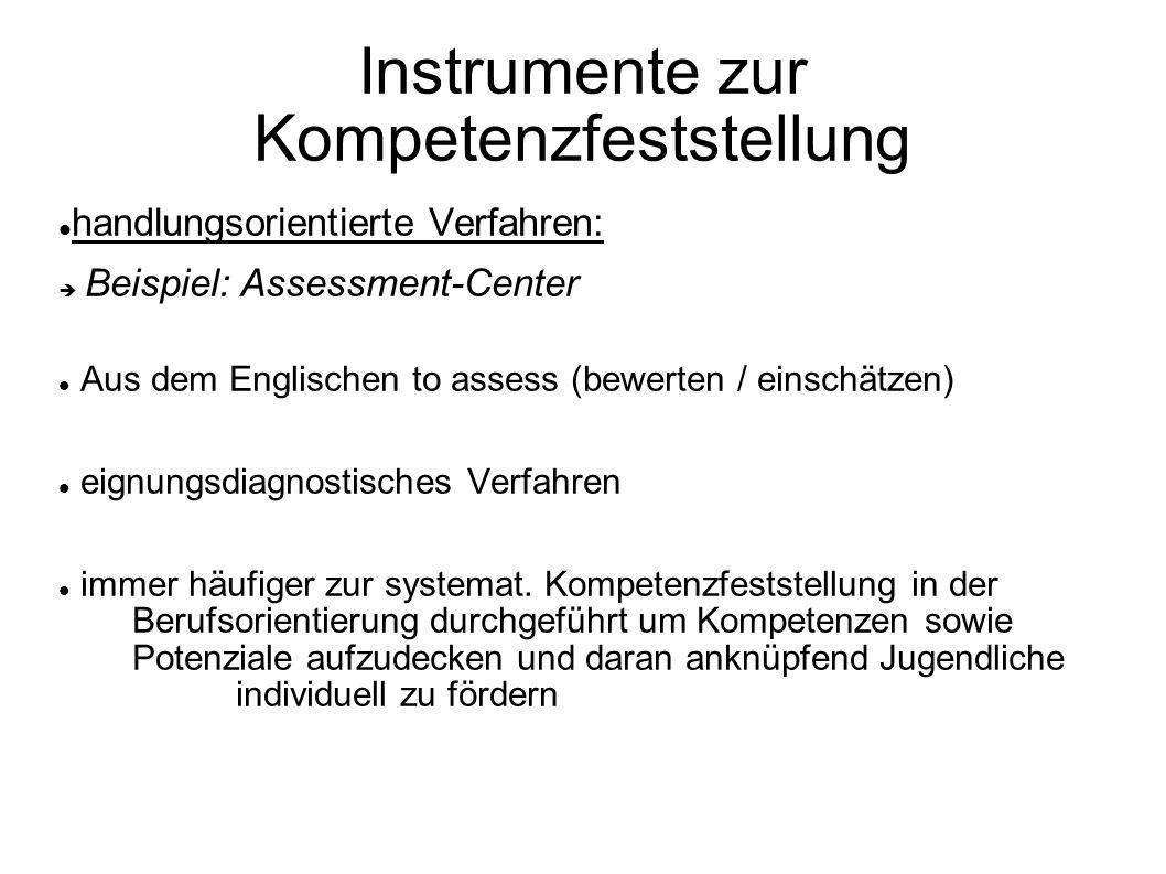 Instrumente zur Kompetenzfeststellung handlungsorientierte Verfahren: Beispiel: Assessment-Center Aus dem Englischen to assess (bewerten / einschätzen