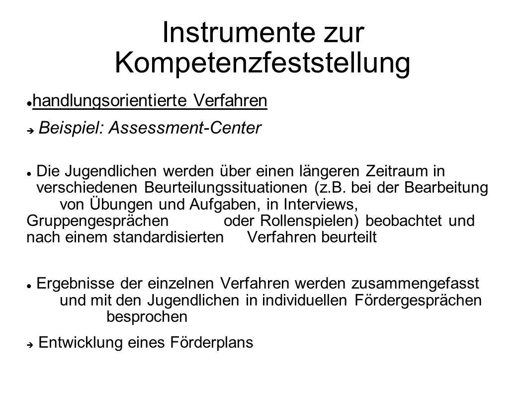Instrumente zur Kompetenzfeststellung handlungsorientierte Verfahren Beispiel: Assessment-Center Die Jugendlichen werden über einen längeren Zeitraum